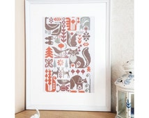 Vintage sampler forest 1970 - cross stitch pattern modern - forest dwellers raccoon fox squirrel deer plants flowers frog grouse butterfly