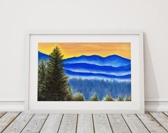 Carolina Hills Print from Pastel Drawing