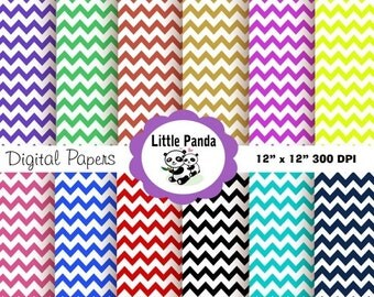 70% OFF SALE Chevron Digital Scrapbook Paper Pack, Commercial Use, Personal Use, 12 jpg files 12 x 12 - Instant Download - D4