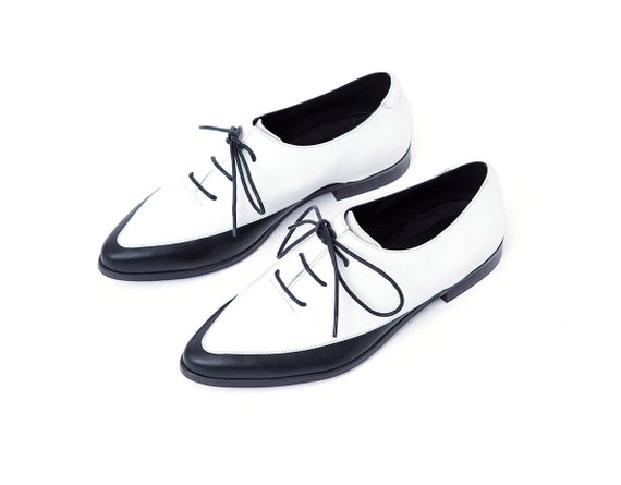 Womens Shoes Leather Oxfords Black And White Leather