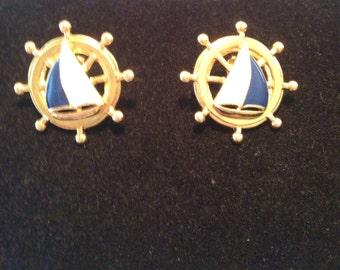 Vintage Sailboat Nautical Earrings