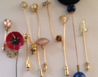 Now On Sale Lot of 12 Vintage Stick Pins