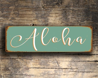 ALOHA SIGN, Aloha Signs, ALOHA, Hawaiian Greeting Sign, Vintage Style Aloha Sign, Hawaiian Decor, Aloha Decor, Aloha Wall Art