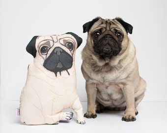 Custom Pet Pillow - Illustrated Dog Cat Portrait Cushion (Full Body) - Gift for Dog or Cat Owner