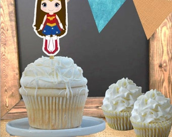 Cupcake Toppers - Set of 12 - Superhero Wonder Woman Theme