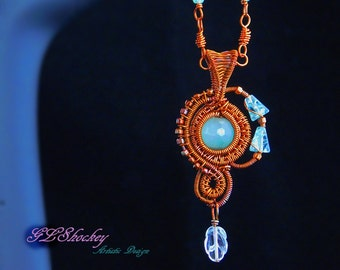 Aquamarine and Apatite Necklace (Copper Wire and beads)