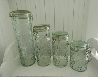 Vintage Embossed Fruit Pattern Glass Canister Set - Glass Covers with Wire Bale Hinges - Set of Four Canisters - Light Sea Glass Color