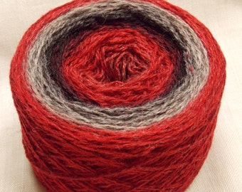 100g/3.5oz Kauni 8/2  Red Black Grey EMH  100% Quality PURE Lambswool yarn, for hand and machine knitting. Made in Estonia
