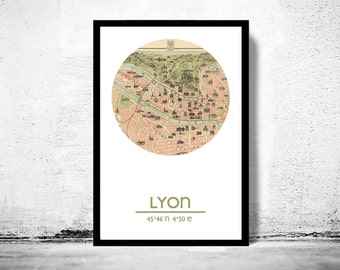 LYON - city poster - city map poster print