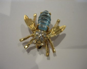 Stunning Vintage Diamond Encrusted Blue Topaz Bumble Bee Pin Brooch