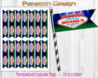 Las Vegas Style - Personalized Cupcake Flag Toppers, Party Paper Flags, Straw Flags - DIY Printable Digital File