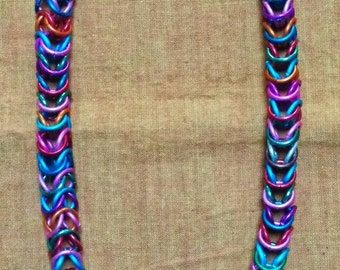 Unity: matinee chainmaille necklace - in multicolored anodized aluminum & antiqued silver metal