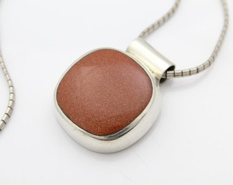"Sterling Silver and Goldstone Modernist Slide Pendant Necklace Taxco 17"" 40g. [6634]"