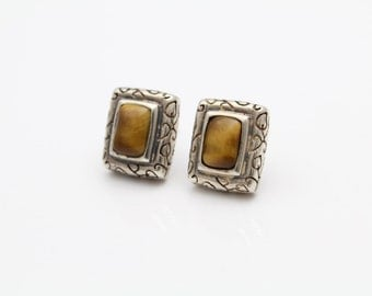Rectangular Stud Earrings With Tigers Eye in Sterling Silver. [9457]