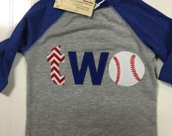 boys 2nd birthday shirt, Two baseball shirt, royal blue first birthday baseball theme shirt, TWO birthday, reglan shirt