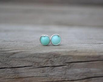 Blue Jade Stud Earrings // Silver Post Earrings // Everyday Earrings // Bohemian Earrings // Wire Wrapped Earrings // Gift for Her