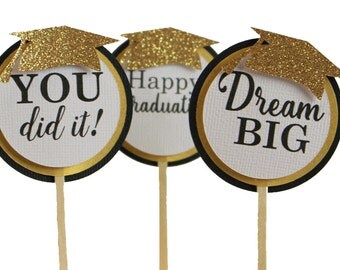 Black & Gold Graduation Cupcake Toppers, Set of 12