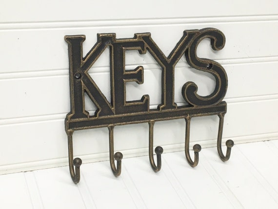 Key holder unfinished cast iron wall decor by theshabbystore for Mural key holder