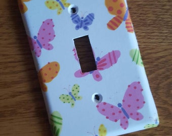 Pink and Purple Butterfly Switchplate for a girl's room - all styles available!