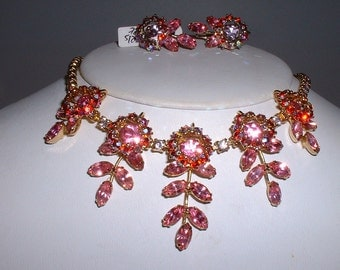 Vintage Pink Rhinestone Necklace and Earring Set