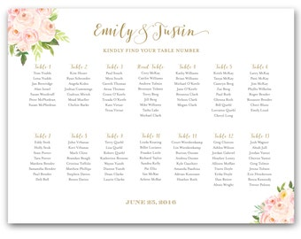 Printable Wedding Seating Chart Floral Seating Chart Wedding Seating Plan Table Assignment Seating Chart Poster Blush and Gold The Bella