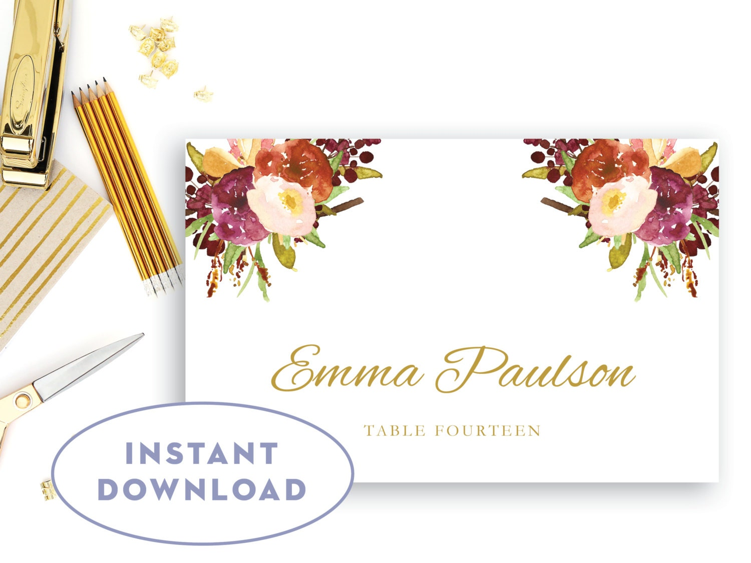 printable flat place card template floral place cards instant
