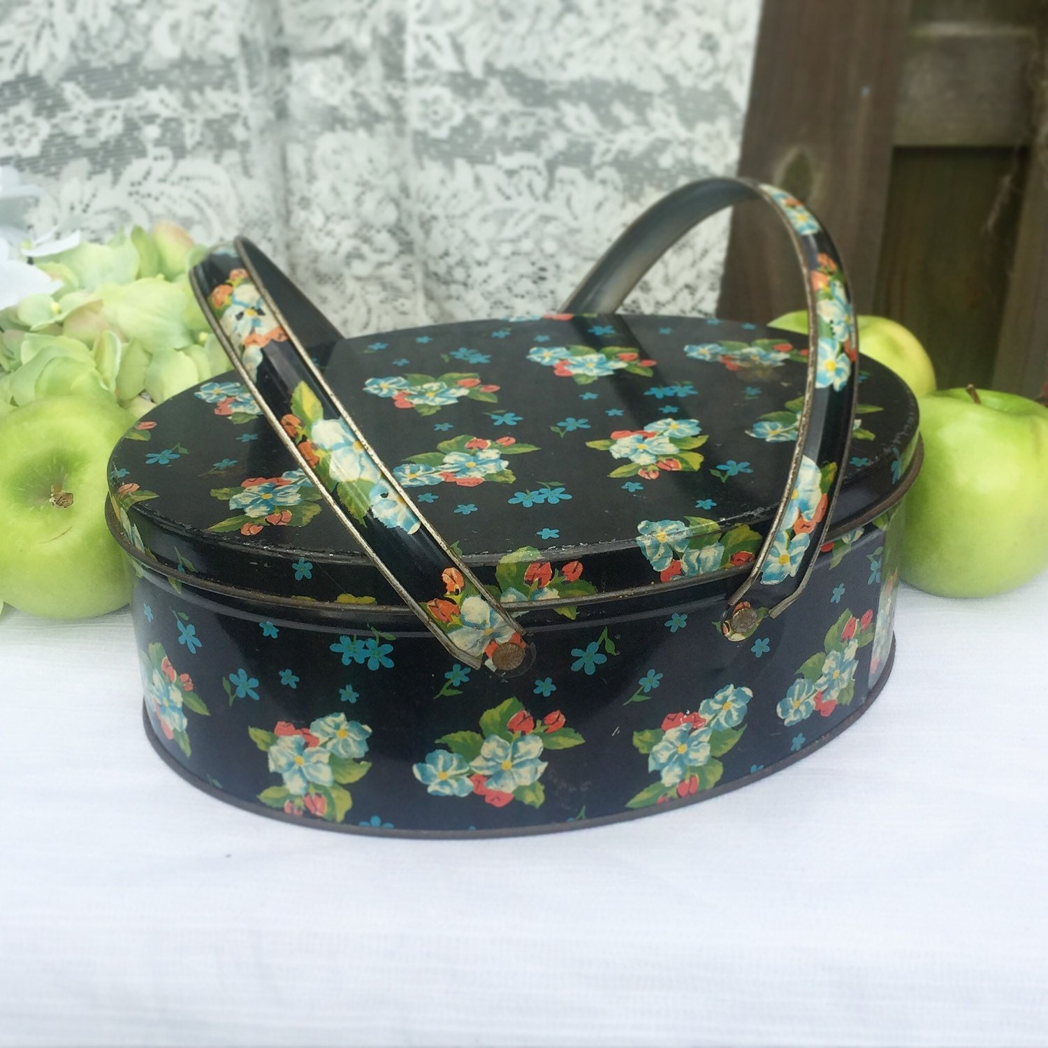 Decorative Box Lunches : Lovely mid century floral tin basket decorative box lunch
