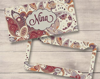 Beige Retro Floral Car Tags, Monogram License Plate and Frame, Personalized for Teenage Girls, , Monogram Car Tag (0023)