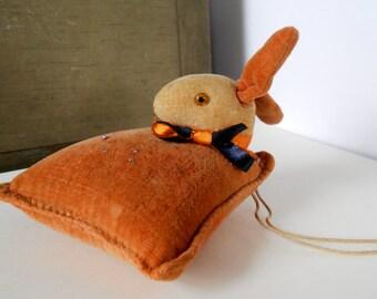 SALE  Antique Velvet Rabbit Pin Cushion, Sewing Collectible, Rabbit Collectible, Velvet Rabbit