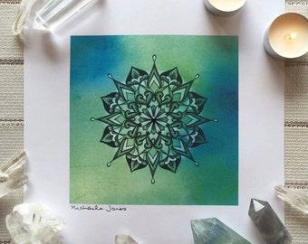 Eight-Point Mandala | High Quality, Crystal Embellished Mandala Art Print
