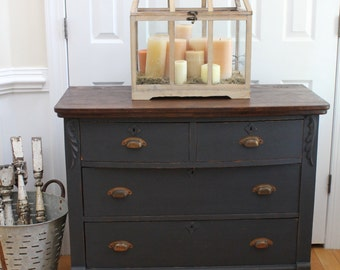 Vintage Dresser - Chest of Drawers - Annie Sloan Chalk Paint - Graphite - Stained Top