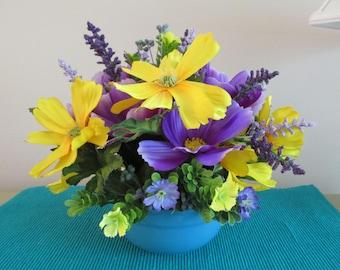 Summer Flower Arrangement, Turquoise Ceramic Bowl, Lavenders, Yellow Flowers, Silk Floral Arrangement, Flower Centerpiece, Silk Flowers
