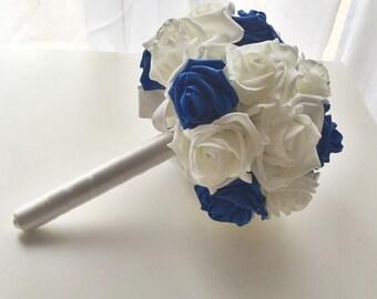 cobalt/navy blue and ivory foam bouquet