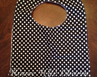 Black with White Dots bib- Ready to Ship!