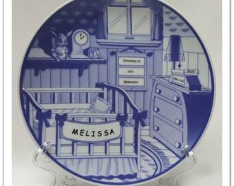 Baby Keepsakes Nursery Plate Personalized Delft Blue