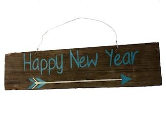 Door Hanger - Rustic Barnwood, New Year Sign, Barn wood Home Decor, Wooden Holiday Decor, Reclaimed Wood, Blue, Follow Your Arrow -