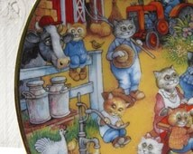 """Cat plate, Franklin Mint collectible plate, """"A Purrfect Feast"""", Bill Bell ltd edition plate, Thanksgiving cat plate, anthropomorphized cats"""