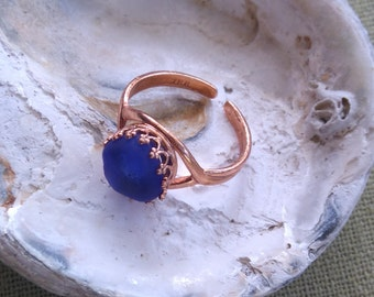 Handmade Copper Sea Beach Glass Adjustable Ring - Cobalt Blue Seaham English Seaglass - 1 Size