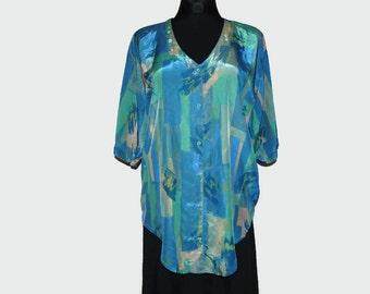 90's shiny silk blouse
