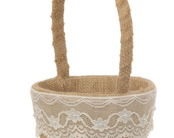 Rustic Flower Girl Basket with Lace