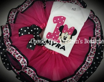 MINNIE MOUSE Inspired Custom Top, Hair Bow & Tutu Set Polka Dots