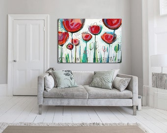 """Large giclée print with, ABSTRACT print of original painting, green, white, red """"Every day is beautiful"""""""
