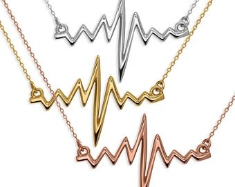 Sterling Silver Heartbeat Necklace by Silver Phantom Jewelry -- 18k Gold, Rose Gold, or Rhodium Plated