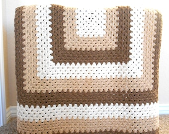 Crochet Granny Square Throw Blanket - Large Crochet Afghan - Crochet Couch Blanket - Brown and Tan Afghan - Living Room Afghan