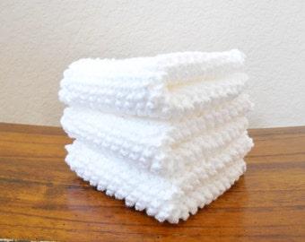 Knit White Cotton Dishcloths, Set of Three - Kitchen Linens - Housewarming Gift - Kitchen Dish Cloths - Knit Dish Rags
