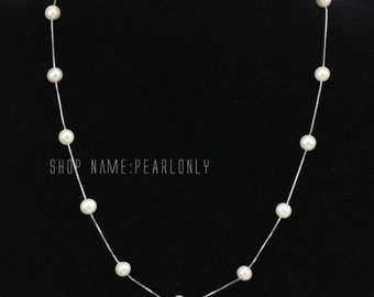 Pearl floating necklace,pearl illusion necklace,freshwater pearl necklace,illusion pearl necklace,bridemaid necklace,custom made length
