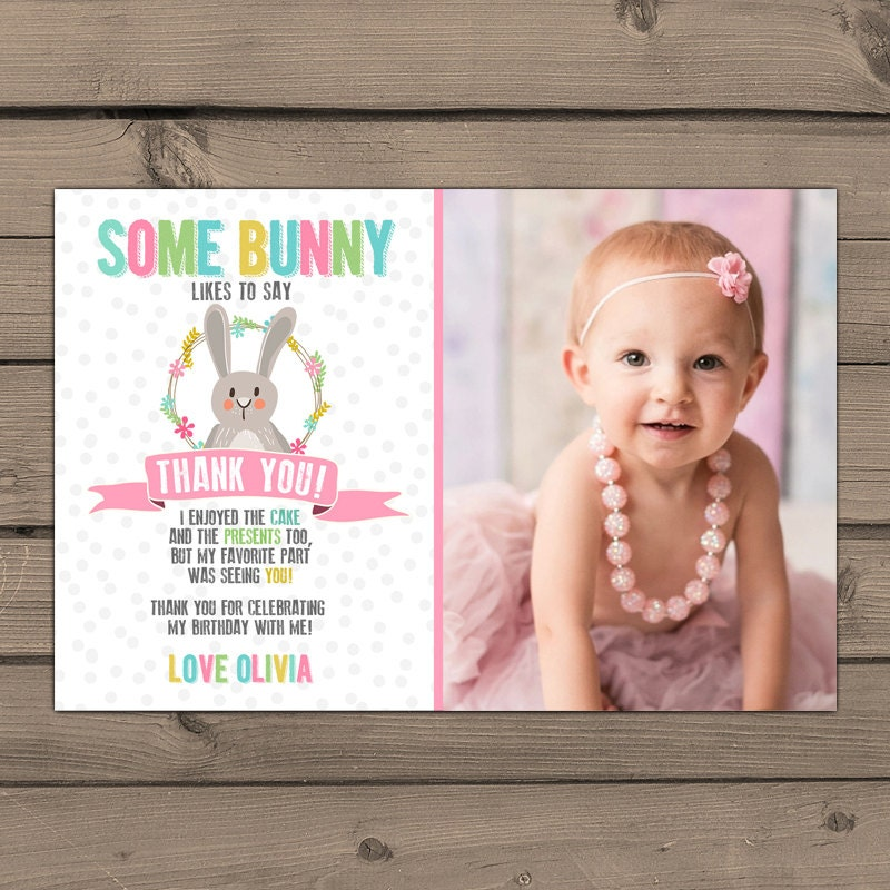 Bunny thank you card – First Birthday Thank You Cards