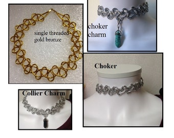 Silver or Gold Bronze Tattoo Choker
