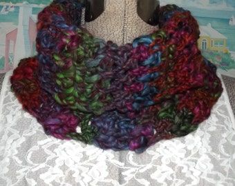 Crochet Cowl, Chunky Cowl, Handmade Cowl, Aurora Borealis, Stained Glass, Black Multicolor Collar, Scarflet