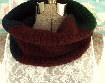 Cowl Scarf, Color Block Collar, Heathered Navy Blue Hunter Green Maroon Red, Unisex Cowl, Turtleneck, Ear Warmer, Hood, Soft Snood